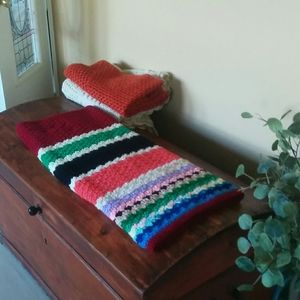 Other - Striped Crochet Multi-color Accent Afghan Throw